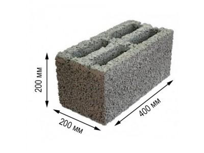 Керамзитобетонный блок 20/40 четырехпустотный утолщенный