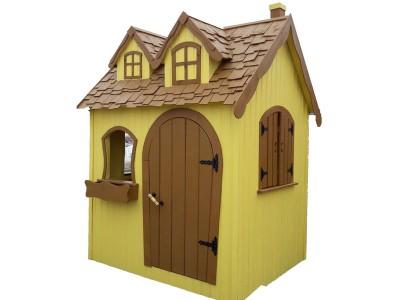 Домик детский желтый из дерева